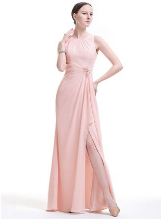 Vestidos princesa/ Formato A Decote redondo Longos De chiffon Vestido de festa com Bordado Apliques de Renda lantejoulas Frente aberta Babados em cascata