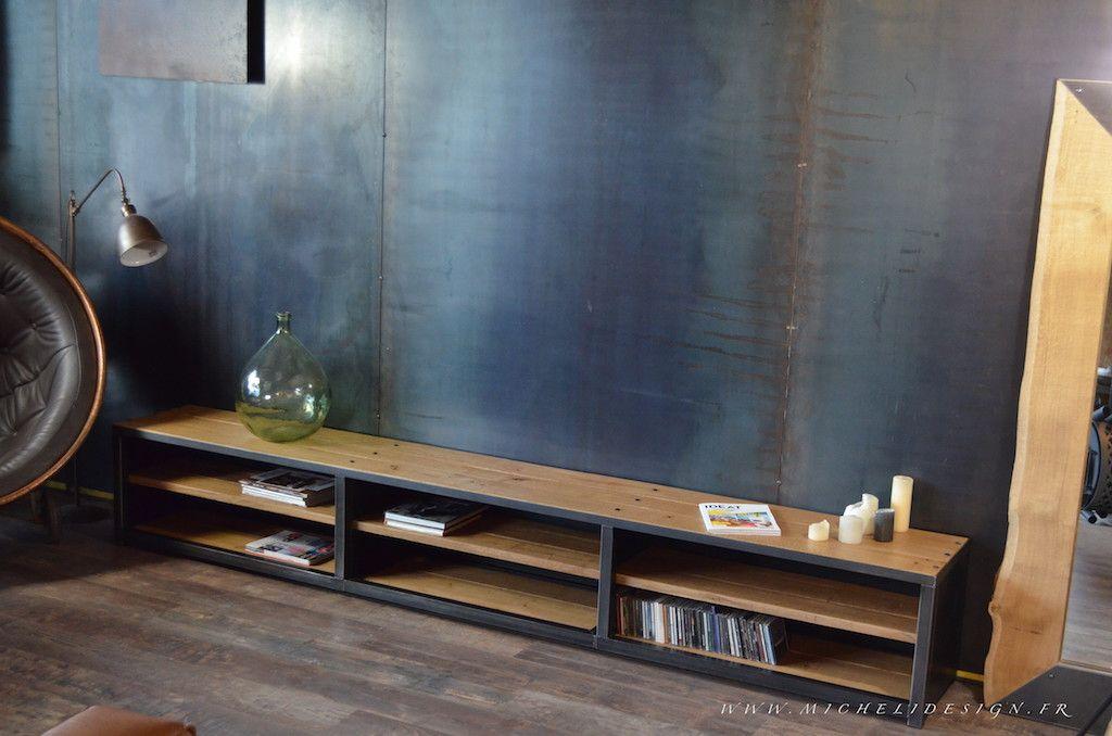 meuble tv multimédia acier bois - 3 m - sur mesure et démontable