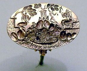 """The so-called """"Ring of Minos"""" from Knossos. (1500-1400 BC). A male and two female figures, in the """"cult of the tree"""". Heraklion Archaeological Museum"""