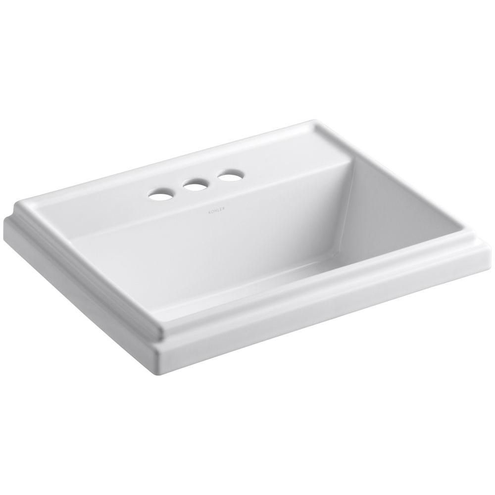 Kohler Tresham Drop In Vitreous China Bathroom Sink In White With Overflow Drain K 2991 4 0