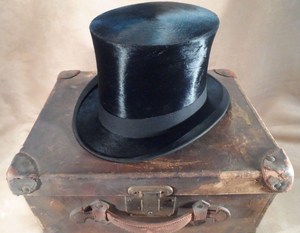 Antique Vintage Geo W Allen Silk Plush Beaver Top Hat W Wanamaker Leather Case Geowallen Tophat Formal Hats Vintage Hats For Men Top Hat