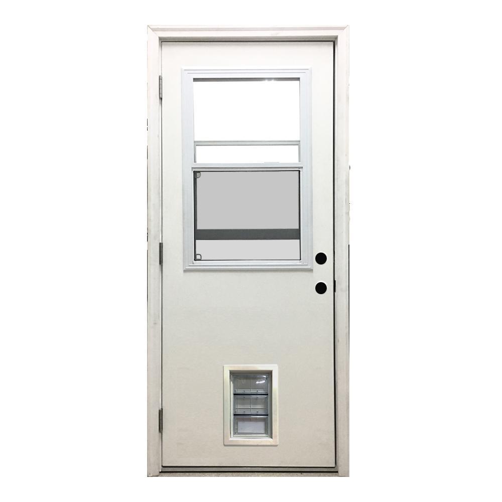 Steves Sons 30 In X 80 In Classic Clear Vented Half Lite Lhos White Primed Fiberglass Prehung Front Door With Med Pet Door Fwtv 30mep 4olh Exterior Doors White Doors Classic Doors