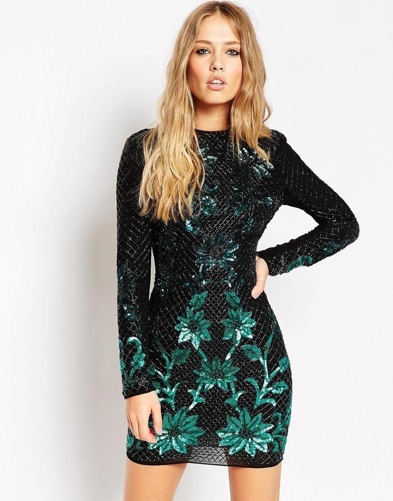 Short black long sleeve dress with sequin embellished shoulders