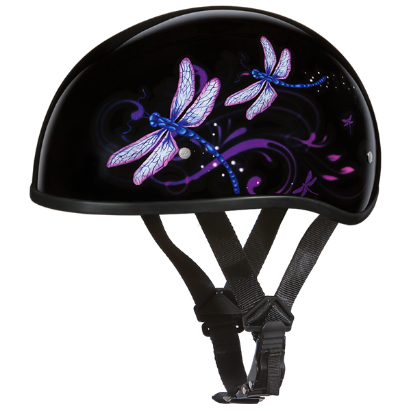 Daytona Womens Purple Dragonfly Dot Skull Cap Motorcycle Half Helmet Motorcycle Helmets Half Custom Choppers Half Helmets