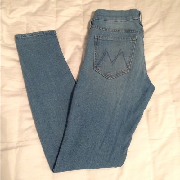 skinny light wash jeans Brand: Mother; style: The Looker; wash: Hearts at Risk Light. Jeans Skinny