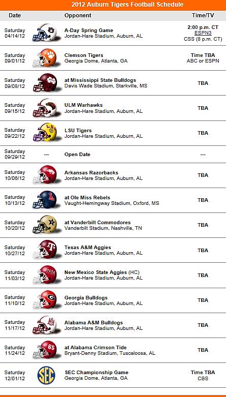 Auburn Tigers Football Team 2012 Schedule | Auburn