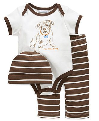 First Impressions Baby Set, Baby Boys Pup 3-Piece Hat, Bodysuit and Pants - Kids Baby Boy (0-24 months) - Macy's