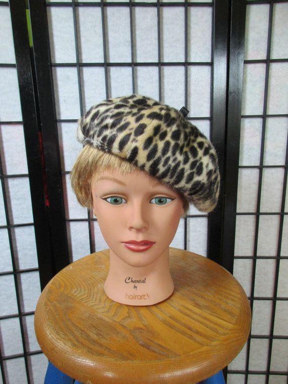 f277b37e5d987 Vintage Beret Faux Leopard Fake Fur 1950s 1960s Hat Cap Tam ...