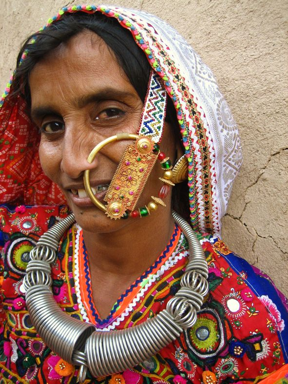 India | A Megwhal tribal in Ludiya, towards the Pakistan border. In this region a woman's status is indicated by the size of her nose-ring.