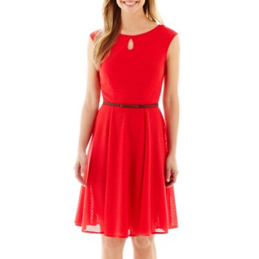 London Times Cap Sleeve Fit And Flare Dress Jcpenney