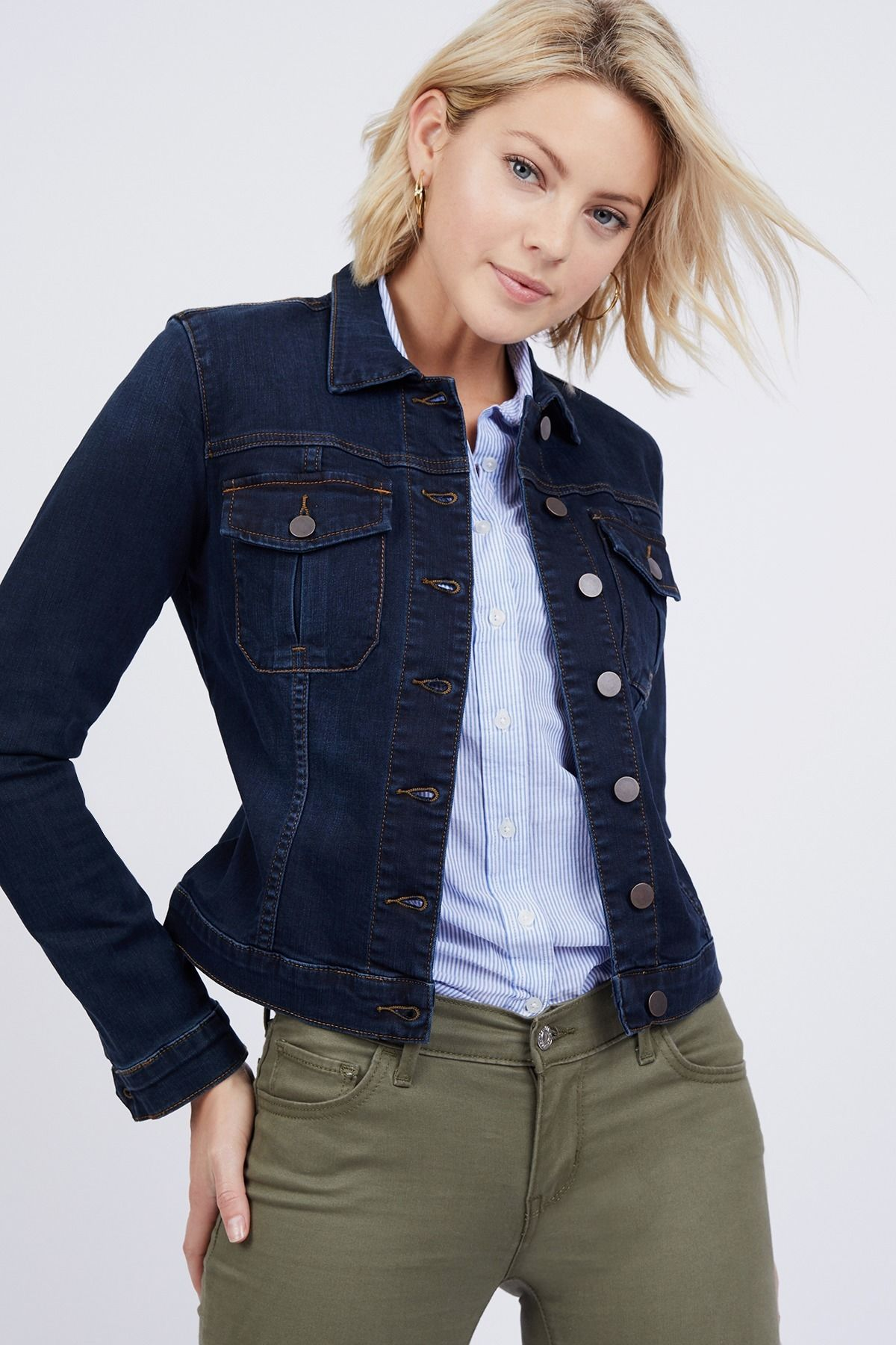 Dark Wash Denim Jacket By Kut From The Kloth Rent Clothes With Le Tote Jacket Outfit Women Dark Denim Jacket Outfit Dark Wash Denim Jacket [ 1800 x 1200 Pixel ]