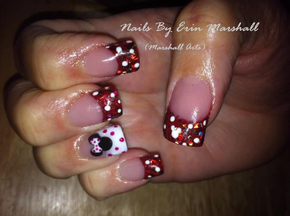 Minnie Mouse acrylic nails. Disney nail art | Nails | Pinterest ...