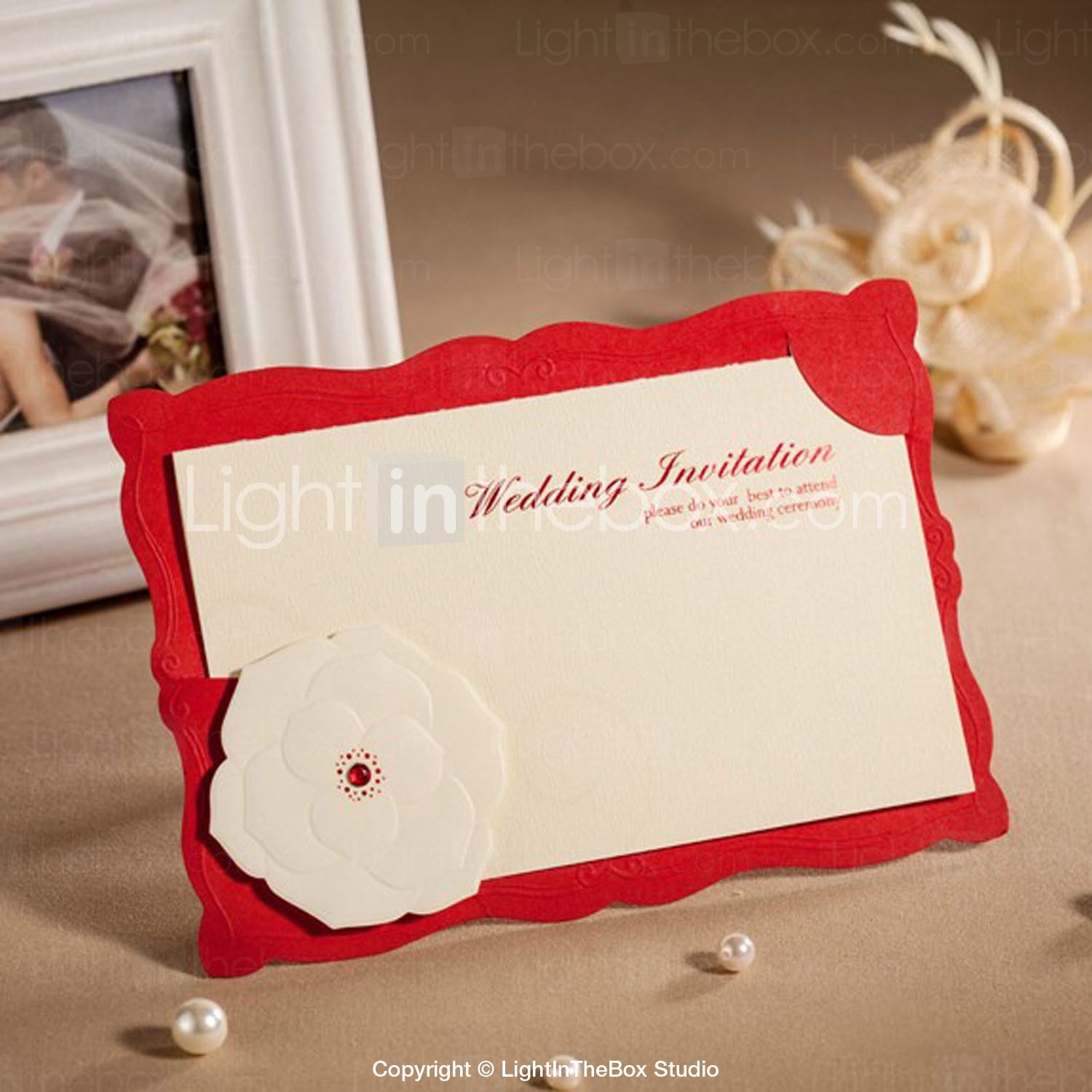 Charming Embossed Red Wedding Invitation - Set di 50 | Red wedding ...
