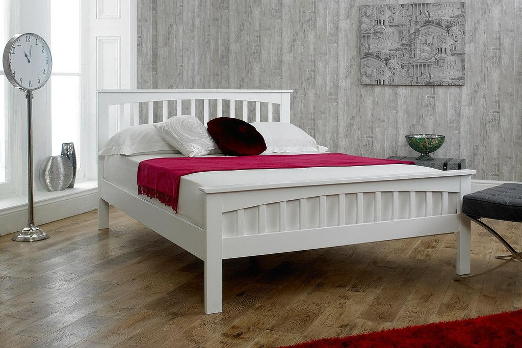 Heywood White Solid Wood Bed Frame 4ft Small Double White Bed