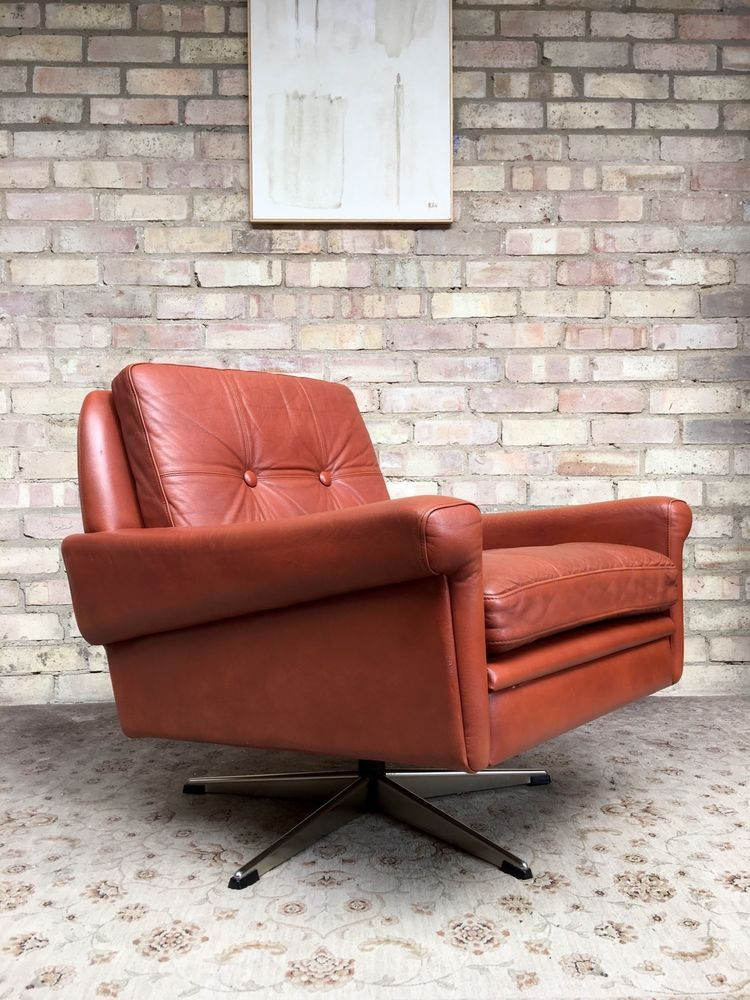 Vintage 70 S Sven Skipper Tan Leather Armchair In Home