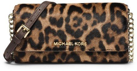 9cbbc326890b Michael Kors Jet Set Travel Leopard Hair Calf Chain Wallet     Click on the  image for additional details. (This is an affiliate link)  michaelkors