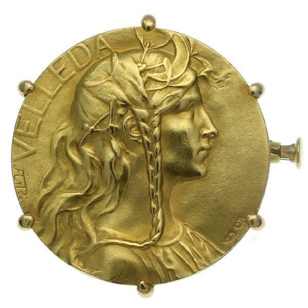 Art Nouveau brooch with effigy of Velleda, signed Rivet