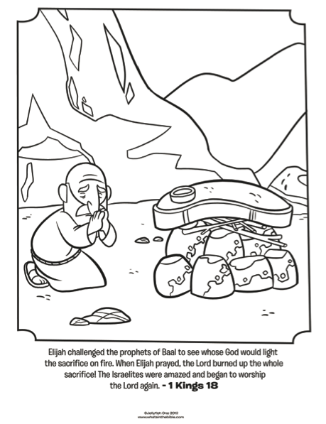 Kids Coloring Page From Whats In The Bible Featuring Elijah Praying 1 Kings 18