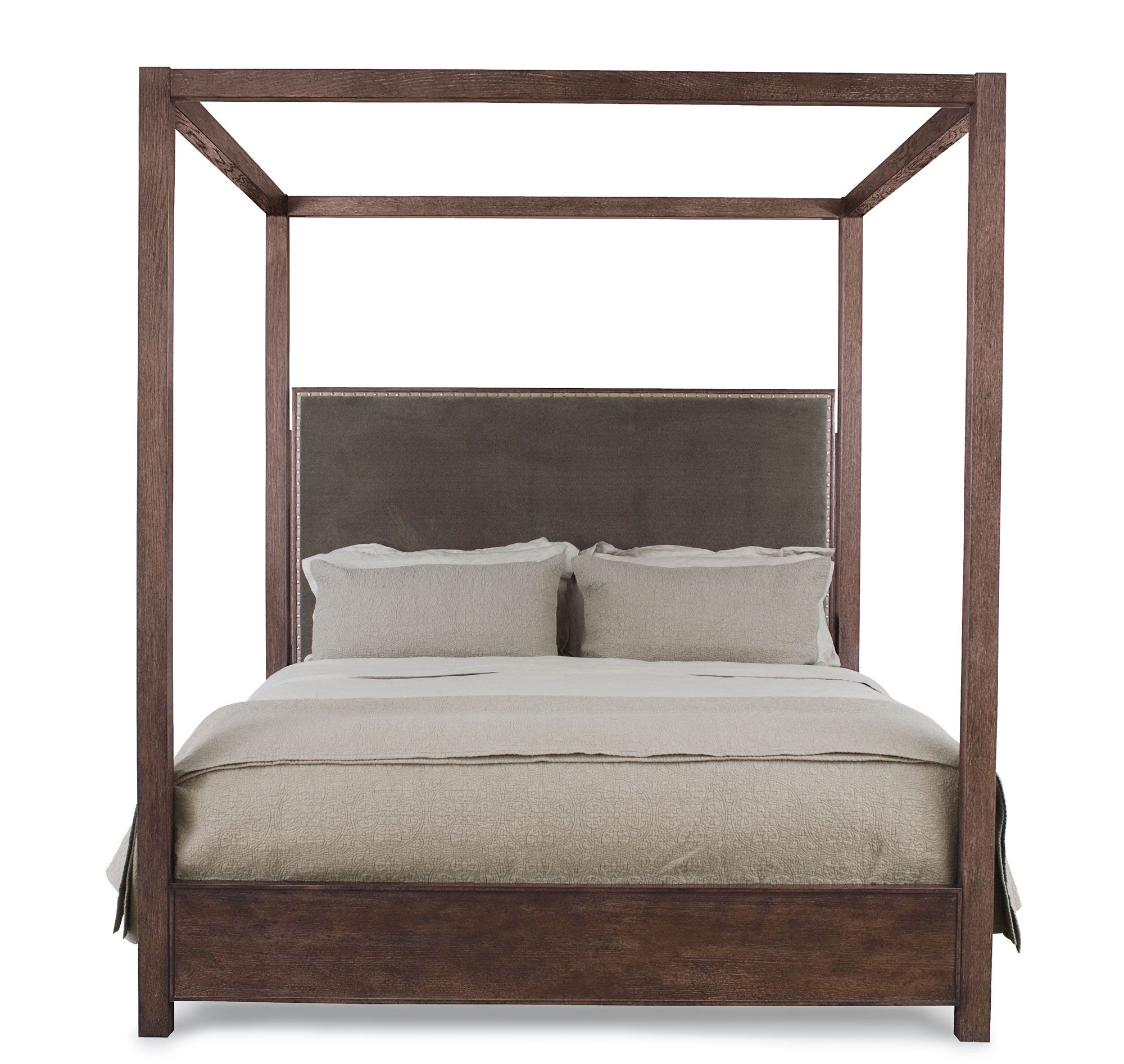 Four Poster Bed With Upholstered Headboard And Nailhead Trim From