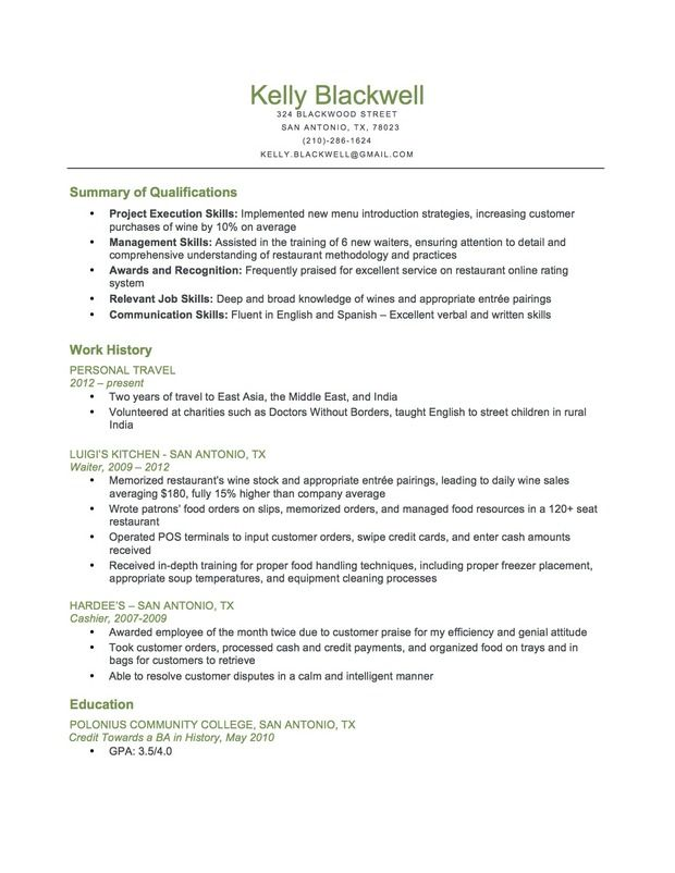 combination food service resume