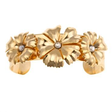 Joan Bangle featuring 14k gold plated flowers and Swarovski crystals by Emily Elizabeth Jewelry
