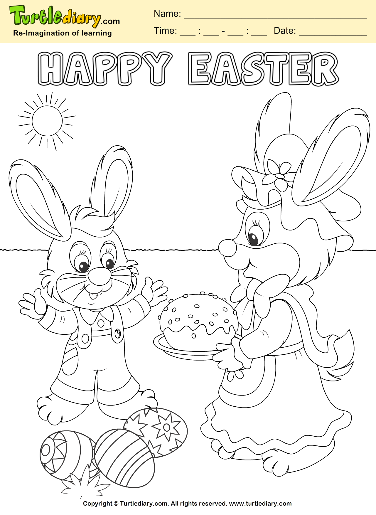 Bunny and Easter Egg Coloring Page | aa velka noc | Pinterest ...