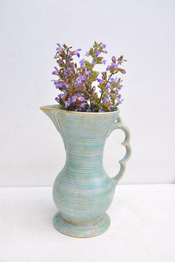 Art Deco Pitcher Jug Great As Flower Vase Mottled Blue Glaze Matt Finish Wade Heath