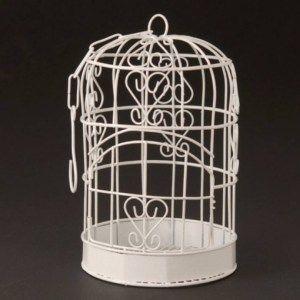 White Bird Cage Holder