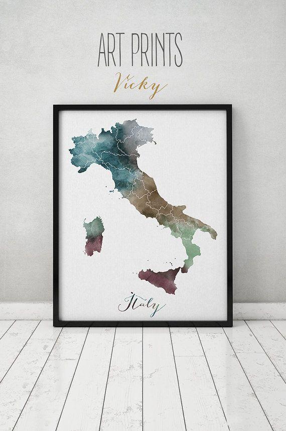 Italien Aquarell Karte Italien Wandkunst Italien Karte Plakat