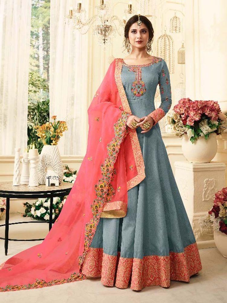 cb83adec35  Designer  Bollywood  Indian  Latest  Long   Anarkali  Party  Wear   Dresses   Handmade  Anarkali