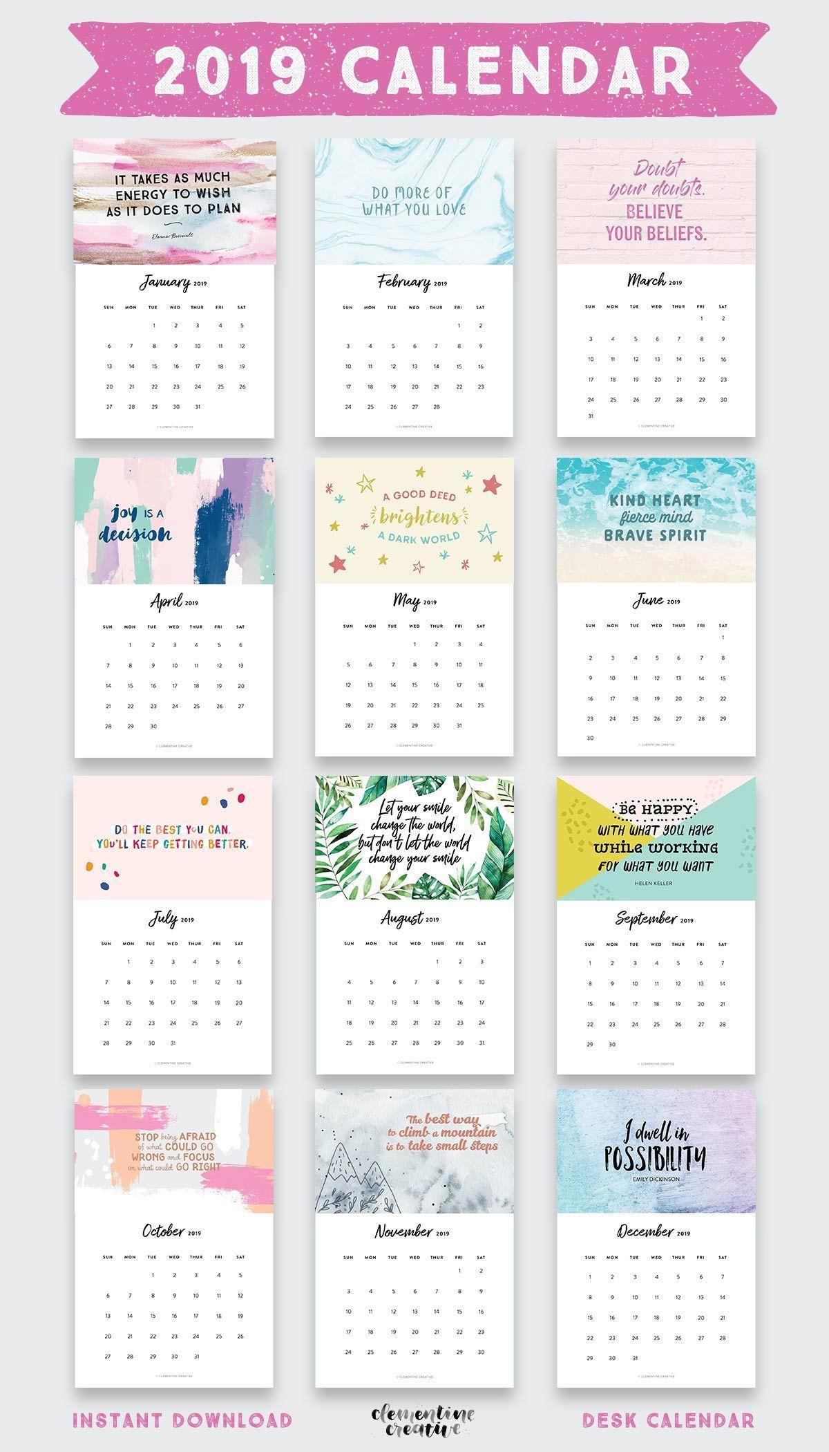 Printable 2019 Inspirational Quotes Calendar Graphic Design