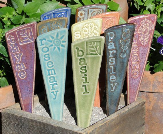 3 Herb Garden Markers   Plant Markers   A Set Of 3 Ceramic Garden Stakes    READY TO SHIP