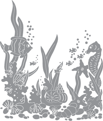 Glass etching stencil of Underwater Scene with Tropical Fish. In category: Fish & Marine