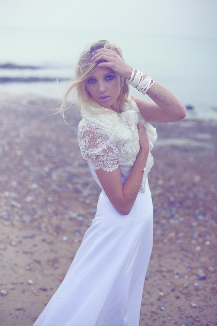 """""""Knock on wood""""Robe bustier en satin de soie  """"Percy""""Boléro en dentelle de Calais  Orlane Herbin #Wedding Collection 2012"""
