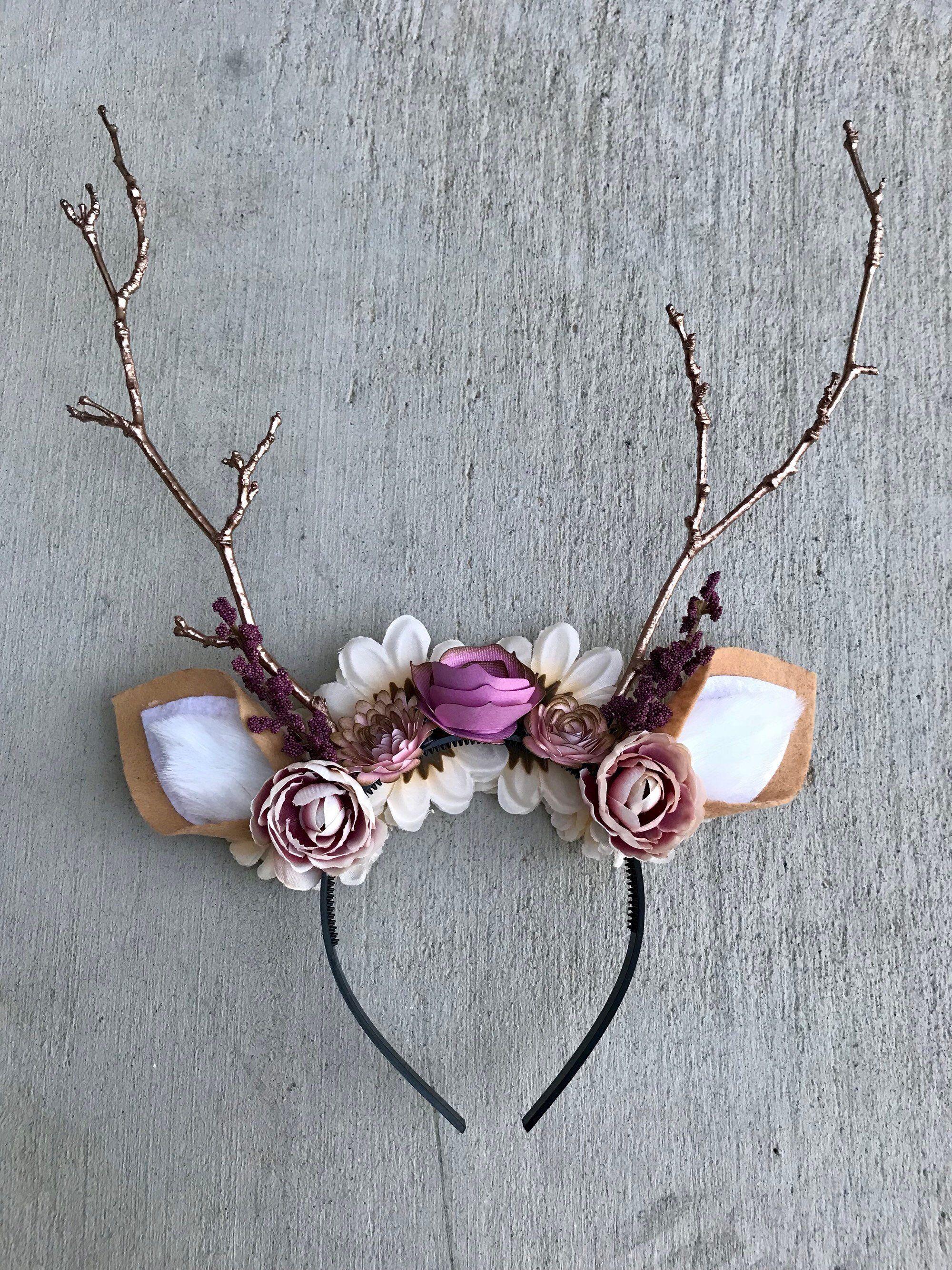 Pin By Kat Lowder On Diy Crafts With Images Deer Headband Deer Costume Halloween Headband