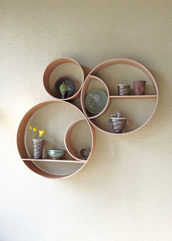 Three Piece Round Shelving Unitartistic, Round Wall Shelf Decor Ideas