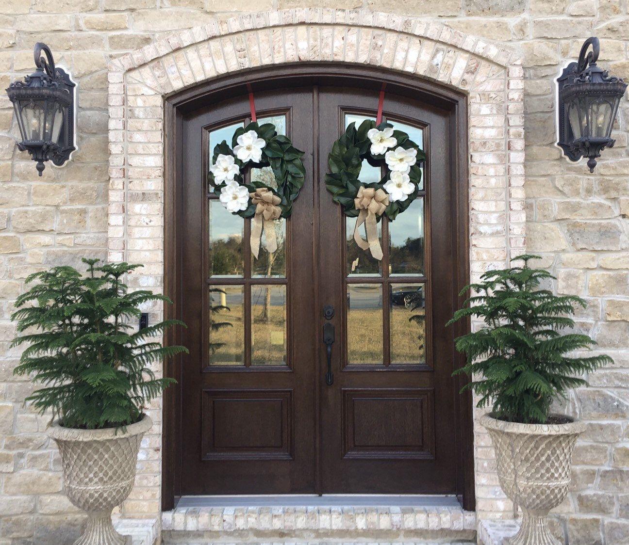 French Door Front Door Magnolia Wreath