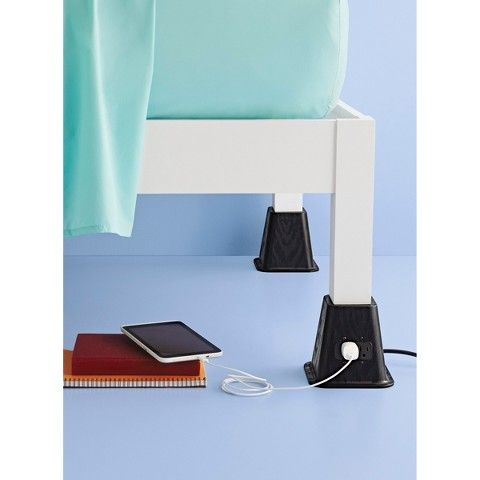 Best Room Essentials Bed Risers With Power Outlet Black Room 400 x 300
