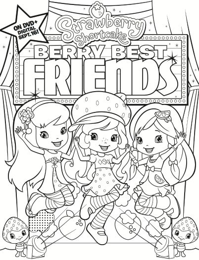 Strawberry Shortcake Berry Best Friends Printable Coloring Sheet