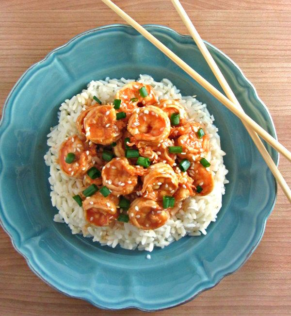 10 Minute Sweet & Spicy Shrimp! this ridiculously easy dish packs just 4g fat & a whopping 38g protein per serving!! you can't beat a healthy, delicious meal like this :)