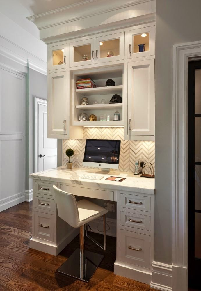 Shaker Built In Counter Height Desk Tile Back Wall Home Home Office Design Built In Desk