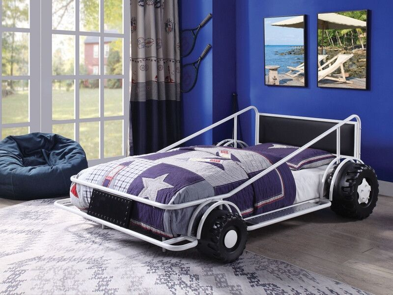 38075t Taban Racer Twin Size Race Car Bed With Tubular White Metal