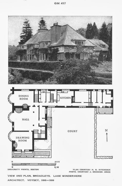 House At Broadleys By C F A Voysey Before 1898 1899 Source Archtitectural History Broa Arts And Crafts House Vintage House Plans Historical Architecture