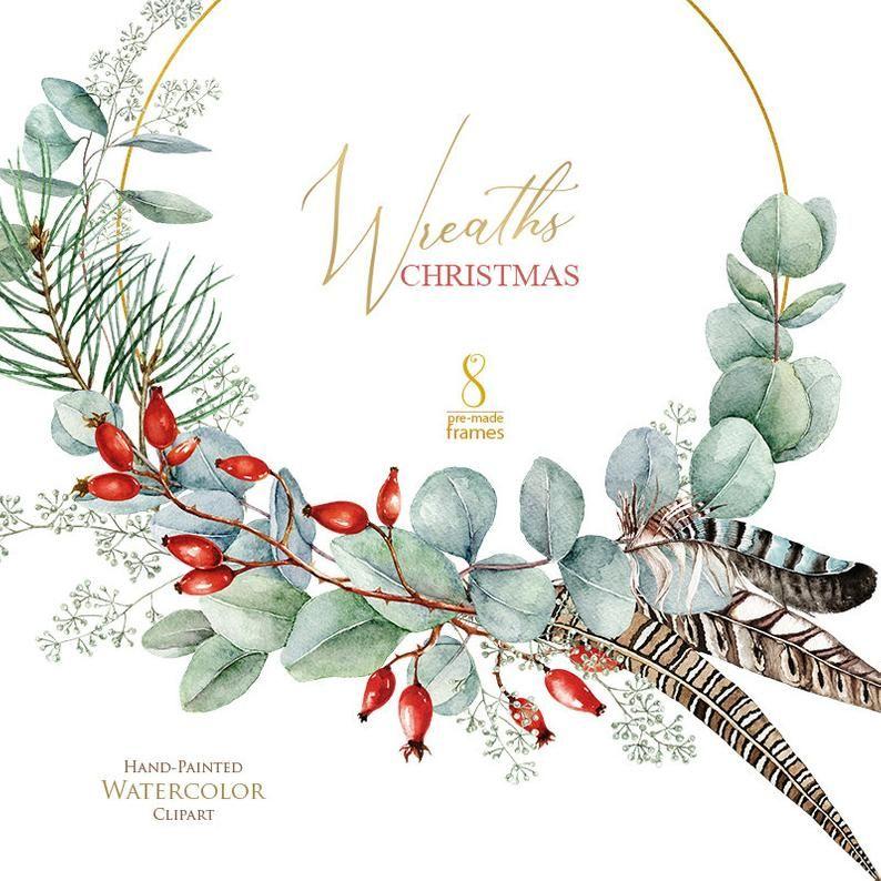 Mistletoe White Poinsettia Merry Christmas Clipart Eucaliptus Traditional Christmas Watercolor Clip Art