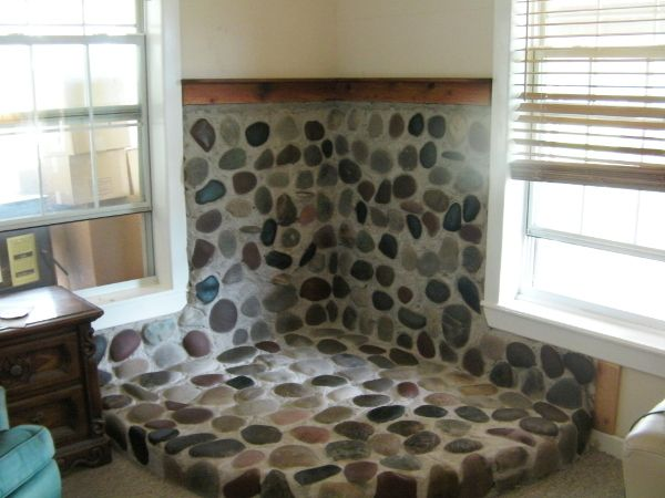 Concrete River Rock Hearth Bing Images Wood Stove Surround Wood Stove Hearth Hearth