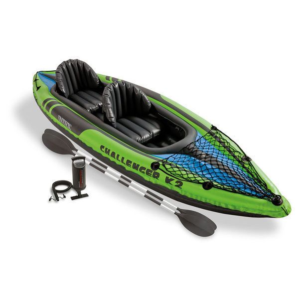 Two Person Inflatable Kayak Boat Raft Foot Pump Paddles Camping