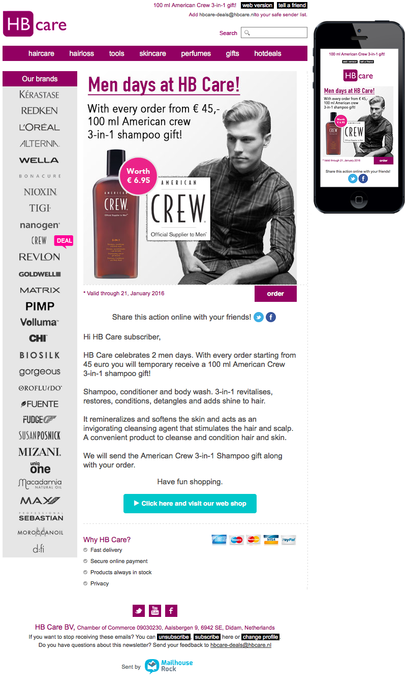 Email Newsletter Template Hb Care Men Days Hair Care For Men