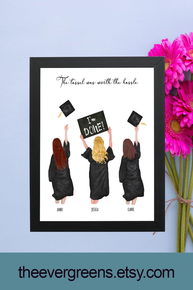 Best Friends Graduation Print,Personalized Graduation Print,College Graduation Gift for Her,Bff Grad