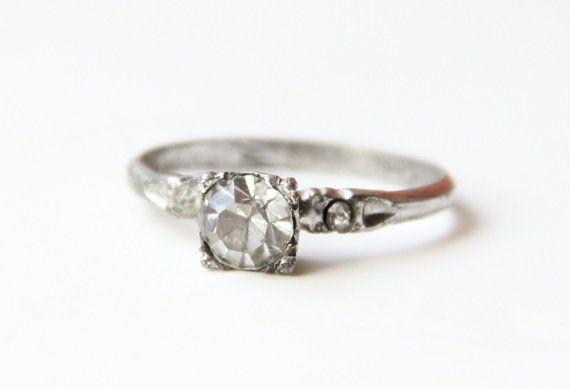 VINTAGE 1930s Art Deco Uncas Sterling Silver Engagement ...