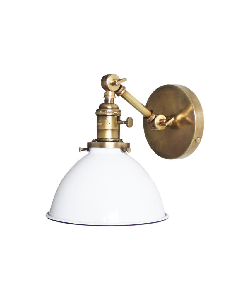 Jefferson Single Arm Wall Sconce With White Enamel Shade Antique Brass